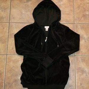 MATERNITY Velour hooded jacket, zip front